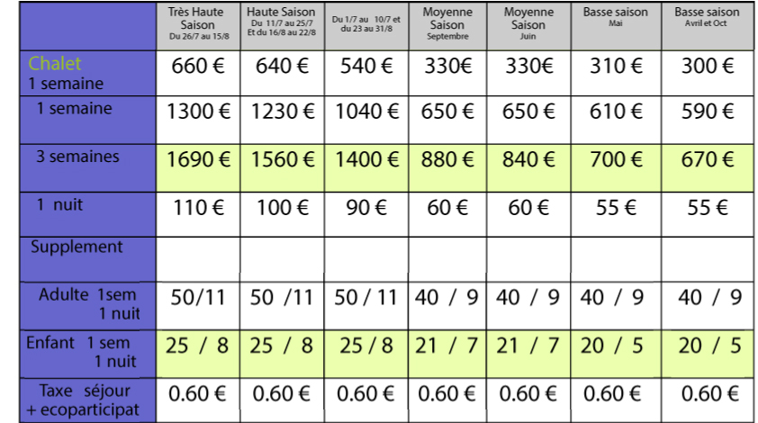 chalet-tarif-2020